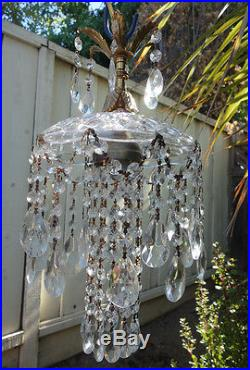 1of7 SWAG hanging Jelly Fish insp vintage Lamp Chandelier brass crystal glass