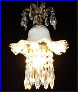 1of7 Vintage Silver Crest Fenton Glass ceiling Lamp lily hanging brass crystal