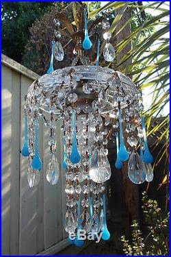 1of8 Opaline Aqua glass SWAG hanging Jelly Fish insp vintage Lamp brass crystal