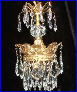 1of 2 Vintage SWAG Crystal ROCOCO crown hanging Lamp prism Brass plate Spelter