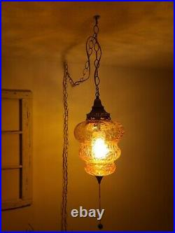 2 AVAIL Vintage Swag Lamp Amber Beehive Crackle Glass MCM Hanging Light