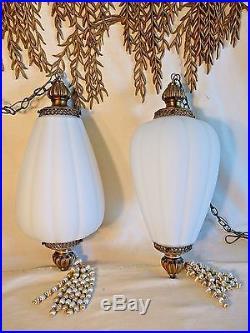 2 Large Frosted Glass Swag Lamps Vintage Hollywood Regency Acorn Hanging Light