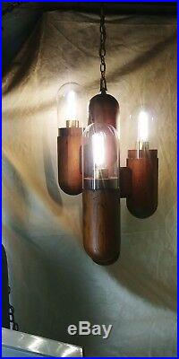2 Modeline Cactus Lamps, table top and hanging swag vintage wood lamp pair