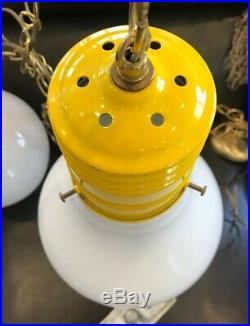 2 VTG HANGING MID CENTURY LIGHTBULB SOCKET LAMP SWAG POP MOD ART INGO MAURER 60s