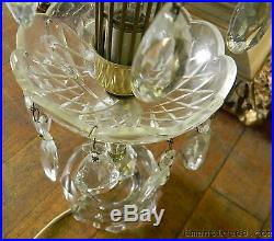 2 Vintage Crystal Tree Table Lamps Hanging Prisms Gilbert Ny Hollywood Regency