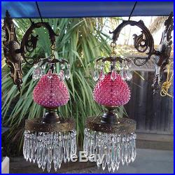 2 Vintage Fenton Cranberry Glass Bronze Brass Sconces wall hanging lamp crystal