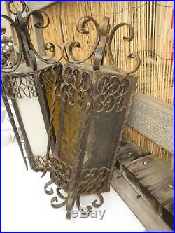 2 Vintage Large Wrought Iron Spanish Medieval Gothic