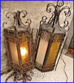 2 Vintage Large Wrought Iron Spanish Medieval Gothic Hanging Swag Lamp Amber
