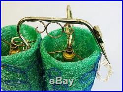2 Vintage MCM Lucite Spaghetti Lamp Cylinder Green Blue Swag Hanging Shades RARE