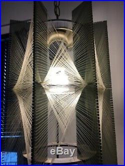 2 Vintage Mid Century Lucite Atomic Retro Nylon String Hanging Swag Lamp