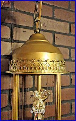 2 Vintage Mineral Oil Rain Lamp Fountain Greek Goddess Light Hanging & Table