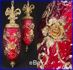2 Vintage RED Glass Swag Lamps Hanging Mid Century RETRO MCM brass GOLD ROSE