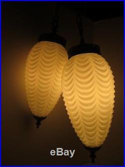 2 Vintage White Draped Art Glass Hanging Swag Light Lamp Mid Century Modern