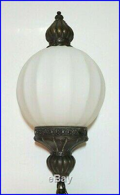 2 Vtg Globe Milk Glass Hanging Pendant Swag Lamps Ribbed Melon Light Fixtures