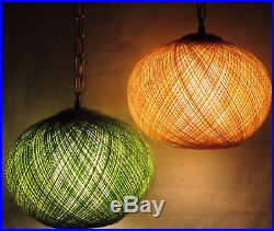 2 Vtg Mid-Century Atomic Spaghetti Fiberglass Shade Hanging Swag Lamps Lights