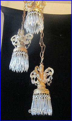 3L Vintage ROCOCO hanging swag plugin lamp chandelier Retro spelter brass plate