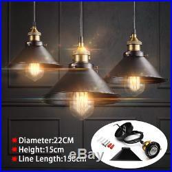 3/6pcs Retro Industrial Vintage Hanging Iron Ceiling Lamp Pendant Light Fixture