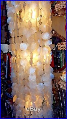 3 Light Beautiful Vintage 6 ft. Capiz Shell Swag Hanging Lamp
