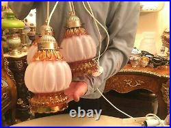 3 Rare Vintage Hanging Green Multicolor Reflection Glass Pendant Lamps