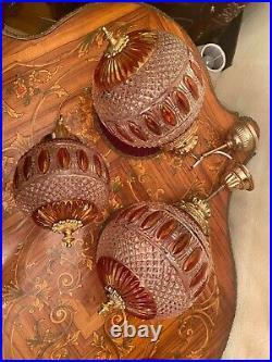 3 Vintage Antique Multicolor Adjustable Hanging Lamp w. Crystal Pendant Glass