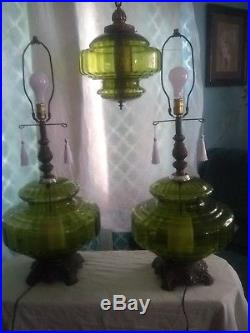 3 Vtg MID CENTURY RETRO 1970 EF EF INDUSTRIES Green Table Lamps And Hanging Swag