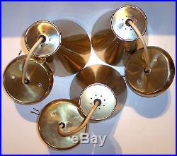 3 vintage mid century brass finish hourglass cone pendant hanging light lamp