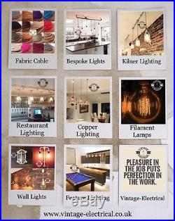 3 x COPPER INDUSTRIAL VINTAGE HANGING CEILING TABLE LIGHT FITTING VINTAGE LAMPS