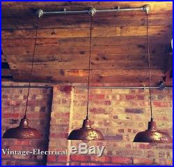 3 x INDUSTRIAL VINTAGE FACTORY HANGING CEILING TABLE LIGHT FITTING VINTAGE LAMPS