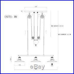 3heads Vintage Pulley Pendant Loft Ceiling Light Hanging Lamp Lighting Fixtures