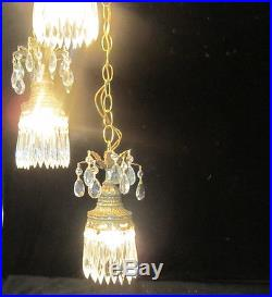 3lt Vintage ROCOCO hanging swag wall plugin lamp chandelier spelter brass plate