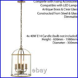 4 Light Hanging Ceiling Pendant Brass & Glass Lantern Shade Lamp Bulb Holder