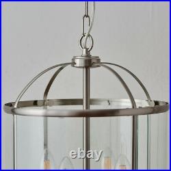 4 Light Hanging Ceiling Pendant Nickel & Glass Lantern Shade Lamp Bulb Holder
