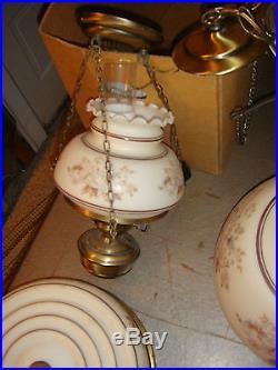 4 Set vtg QUOIZEL LAMP LIGHT HANGING CEILING ruffled glass swag GWTW Hurricane