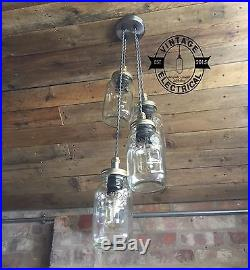 4 X Hanging Kilner Mason Jam Jar Lights Ceiling Bar Vintage E27 Screw Lamps