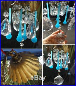 4lt Antique Tole hanging lamp chandelier Italy Vintage beaded Robin Egg opaline