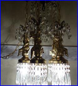 5lt Cherub ceiling fixture Brass hanging crystal lamp chandelier lantern Vintage