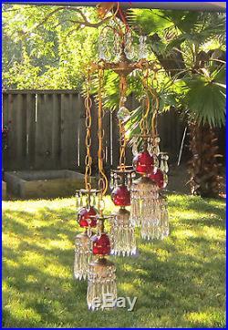 5lte Vintage cranberry ruby Brass hanging swag lamp chandelier Hollywood Regency