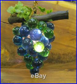 60's Vintage Lucite Acrylic Cluster Grapes Retro Hanging Lamp Light Blue & Green