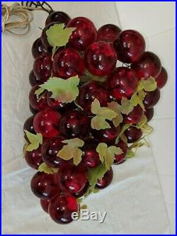 60's Vtg 12 Large Red Lucite Acrylic Cluster Grapes Retro Hanging Lamp Light