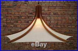 60s Ceiling Light Lamp Teak Danish Modern Mid-Century Hanging Lamp Vintage Omus