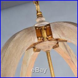 6-Light Wooden Chandelier Pendant Lamp Vintage Round Rustic Iron Hanging Lamp
