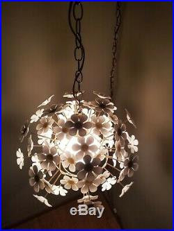 70's Vintage Yellow and White Floral Daisy Cage Chandelier Swag Lamp Light SUNNY