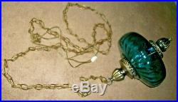 70s VINTAGE BLUE GLASS HANGING SWAG PENDANT LAMP & CHAIN RETRO MID CENTURY LIGHT