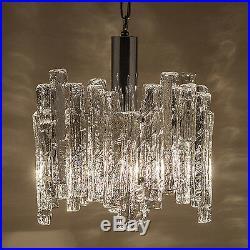 70s Vintage Heavy Ice Glass Chandelier Hanging Pendant Light Lamp Chrome Germany