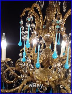 8Lt Vintage bronze brass Pineapple hanging lamp chandelier robin egg opaline old