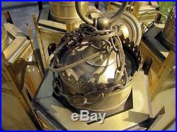 8 Vintage Gold Metal Church Hanging Lamps With 6 Caramel Slag Glass Panels