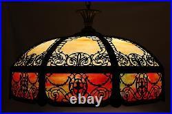 ANTIQUE SLAG GLASS HANGING LAMP -1900s