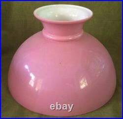 ANTIQUE VICTORIAN HANGING OIL/KEROSENE LAMP with PINK CASED SHADE & GLASS FONT
