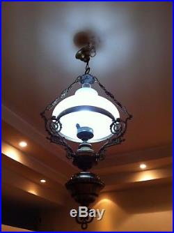 ANTIQUE VINTAGE BRASS CHANDELIER HANGING LAMP LIGHT WITH WHITE OPALINE SHADE. 37h