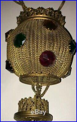 Amazing Vintage Jeweled Brass Ormolu Filigree Hanging Fairy Lamp RARE Hubbell